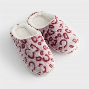 Avon Pink Leopard Slippers Mules Size Small Ladies 3/4