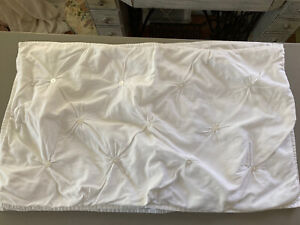 Pillow Shams Set King Size Button Tufted White Shabby Style Set of Two