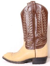 Tony Lama Beige Bull-Hide Brown Leather Upper Pull-On Western Boot Youth US 3