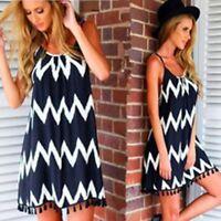 Womens Summer Chiffon Beach Wear Bikini Cover Up Boho Swing Sun Dress Size S-XXL