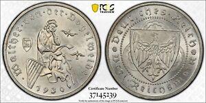 GERMANY (WEIMAR REPUBLIC) 3 MARK 1930-A SILVER (PCGS MS65) *VOGELWEIDE TYPE*