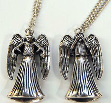 WEEPING ANGEL Die-Cast 3d Dr Who Pendant Necklace BBC Silver Metal Reversible