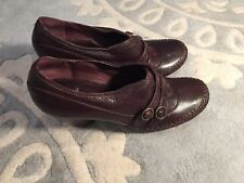 Clarks Indigo Brown Leather Cross Stitched Ankle Shoes Heels Booties 7 RR4NR