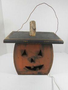 Home Crafted Halloween Jack-O-Lantern Wooden Lighted Pumpkin Decorative Box GUC