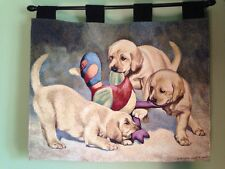 Golden Labrador Puppies dog Duck Decoy hunting woven Tapestry Wall Hanging NEW