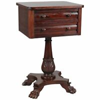 Antique American Empire Acanthus Carved Mahogany 2-Drawer Side Stand, circa 1870