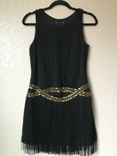 Womens Black Fringe Dress Sleeveless Side zipper Size S/P