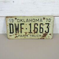 1970 Oklahoma Farm Truck License Plate - Good Vintage Quality D W F - 1 6 6 3