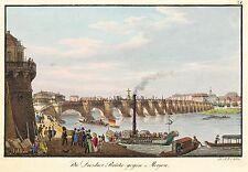 DRESDEN - AUGUSTUSBRÜCKE - J.C.A. Richter - kol. Umrissradierung 1840-1845