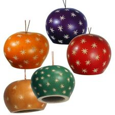 """Four Dome Bell Artisan Hand Carved Gourd Mix Ornaments Peru Fair Trade 3.5"""" Mix"""