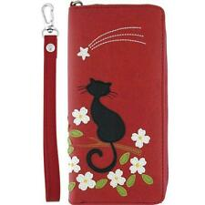 Lavishy Black Cat and Flower applique Zip Around Wallet with a wrist Strap