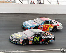 BILL ELLIOTT #94 (BATMAN) & JEFF BURTON #8 RACING ON TRACK 8X10 GLOSSY PHOTO