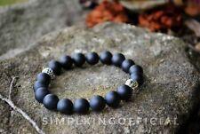 Beaded Bracelet Semi Precious Stone - Buddha Head w/ Matte Black Onyx Stone