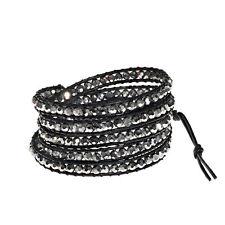 Mystique Silver Crystal 5-Wrap Brown Leather Bracelet