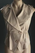 Gorgeous Beige PURPLE GINGER Oversize Collar Sleeveless Fitted Vest/Top Size 8