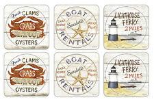 Pimpernel Coastal Signs Coasters Set of 6 Drink Mats Lighthouse Sea Shells Boat