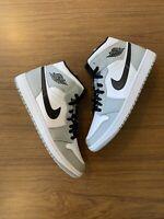 Nike Air Jordan 1 Mid Light Smoke Grey Black White 554724-092 Size 8.5-12