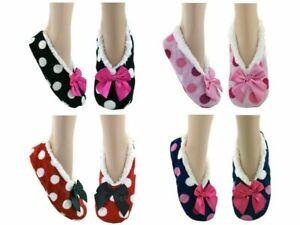 Ladies Womens Cozees Slipper Socks Sherpa Fleece Lined Dots Gripper  Size 4-7
