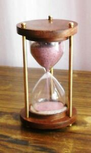 Pink Sand Timer Antiqued Brass Hourglass Vintage Nautical Maritime Table Decor