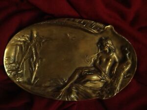 Antique Bronze Art Nouveau Nude Lady Peacock Lake French Jewelry Card Tray Heavy