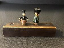 Vintage Liquor Bottle Corks Wood Handpainted Figures w Display Stand Holder Wood