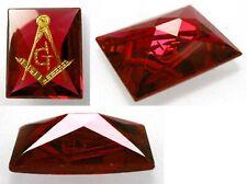 Amazing 6,0 ct  Pigeon Blood Ruby - 14ct Gold Freemasonry Inlay - NEW !