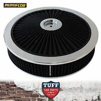 """Aeroflow Chrome Full Flow Air Cleaner Assembly 14"""" x 3"""" with Washable Filter New"""