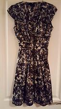 H & M Dress Black/Brown/multi, Front full length zip, Cap sleeve, V neck Size