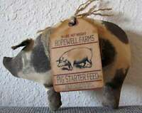 Light Spotted Pig with Feed Sack Tag, Pig Decor, Farm Decor, Primitive Pig