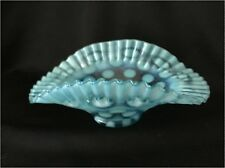 Fenton Blue Opalescent Dot Optic / Coin Dot Crimped Bowl from the 1930-s-1940's