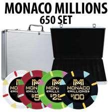 Monaco Millions Casino Poker Chip Set 650 Poker Chips Aluminum Case