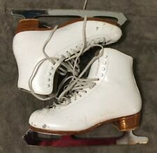 Womens Ice Skates White Leather Riedell 320s Wilson Blades Size 8