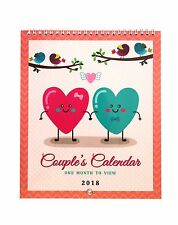 2018 Couples Calendar for Me and You One Month to View Vintage Birds