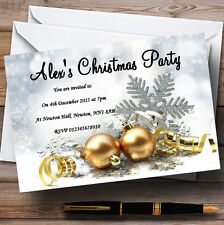 Oro Adornos Personalizados Fiesta De Navidad Invitaciones