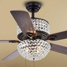 "52"" Tiffany Luxury Crystal Ceiling Fan Lamp 6-light Dinner Room Fan Chandelier"