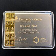 10 x 1g 10g Gramm HEIMERLE & MEULE Gold Barren, CombiBar prägefrisch, NEU!!!