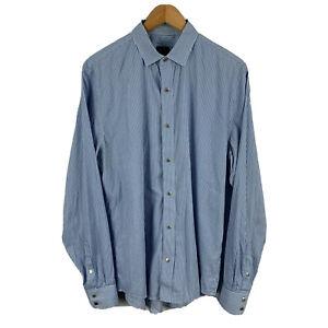 Armani Exchange Mens Shirt Size M Blue Striped Snap Button Long Sleeve 21.25