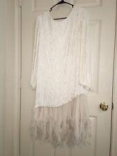 🎀 Vtg Stunning  Ivory White Fortuny Pleat Beaded Wedding Mother Of Bride Dress