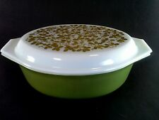 Vintage Pyrex 2 1/2 Qt Casserole Verde Olive Green 045 Cherry Blossom Lid