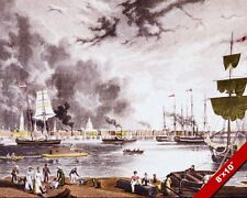 NEW ORLEANS PORT VINTAGE 1800'S PAINTING ART REAL CANVAS PRINT