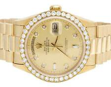 Mens Rolex President 18K Yellow Gold Day-Date 36MM 18038 Diamond Watch 3.0 Ct