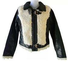 Baby Phat Jacket Bomber Crinkle Faux Leather Faux Shearling Black&White Size:3X