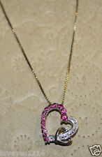 Designer 10k Yellow gold & Sterling silver pink Sapphire HEART Pendant necklace