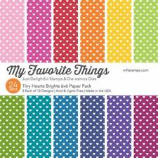 """New MFT My Favorite Things 6"""" x 6"""" Paper Pack Tiny Hearts Bright"""