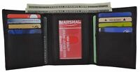 Men's Genuine Leather Trifold Wallet Brown 8 Credit Card slots ID window