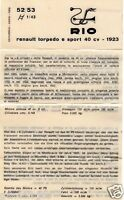 DEPLIANT FASCICULE PLASTIFIE RIO REF 52/53 RENAULT TORPEDO E SPORT 40 C 1923