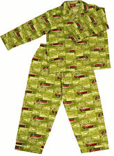 PYJAMA SUIT SLEEPWEAR 100% COTTON  GREEN CAR PRINT
