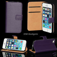 Genuine Real Leather Ultra Slim Flip Wallet Case Cover for iPhone 5s 5 & 4 4s