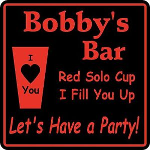Personalized Red Solo Cup  Bar Sign #31 Custom Beer Pub Gift USA Made