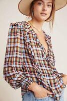 NWT Laila Ruffled Blouse by MAEVE $110 Blue Multi Plaid Size M 8 US 12 UK